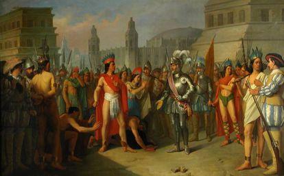 Apresamiento del último emperador de México por las tropas de Hernán Cortés, en el Museo del Prado.