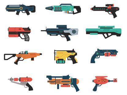 Ilustraciones de pistolas de rayos.