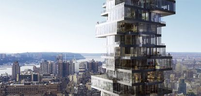 La crisis ha paralizado la ejecución de grandes proyectos en Manhattan, como este singular rascacielos de Herzog & De Meuron, de 56 pisos.