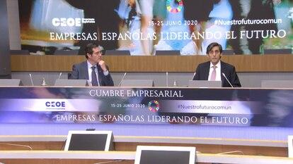 El presidente de Telefónica, José María Álvarez-Pallete, en el foro de la CEOE.