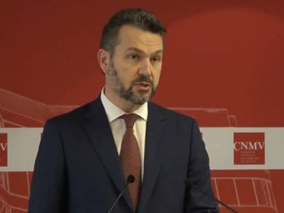 El nuevo presidente de la CNMV, Rodrigo Buenaventura, en la toma de posesión de su cargo.