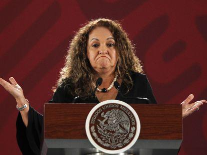 La directora de Notimex, Sanjuana Martínez, en 2019, en el Palacio Nacional.
