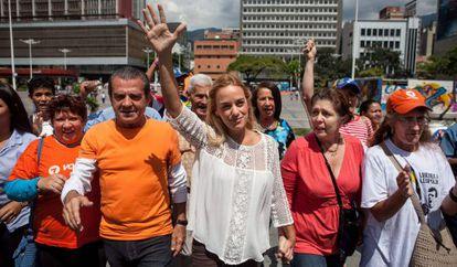Lilian Tintori, en el centro, el pasado martes en Caracas.