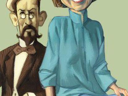 Caricatura de Janet Malcolm y Antón Chéjov.