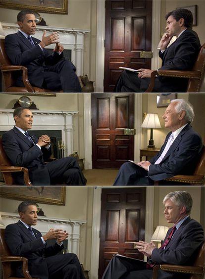 El presidente de los EE UU, Barack Obama, responde (de arriba a abajo) a George Stephanopoulos (ABC),  Bob Schieffer (CBS) y David Gregory (NBC) en las distintas entrevistas que se emitirán en el domingo.