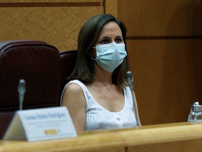 La ministra de Derechos Sociales y Agenda 2030, Ione Belarra, durante un acto en el Senado.