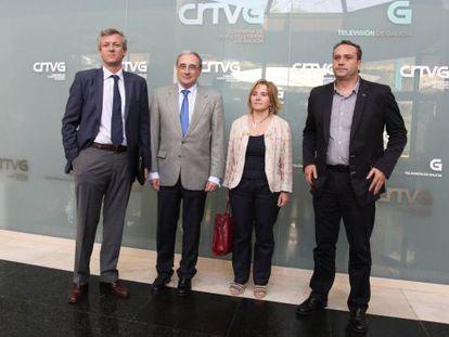Alfonso Rueda, Sánchez Izquierdo, Montse Prado y Pablo García, ayer en la sede de TVG.