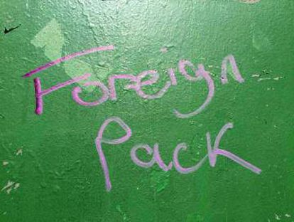 This graffiti appeared on the wall of a school for Spanish children in London in June.