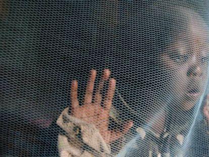Un niño tras una mosquitera, una de las grandes herramientas para frenar la malaria.