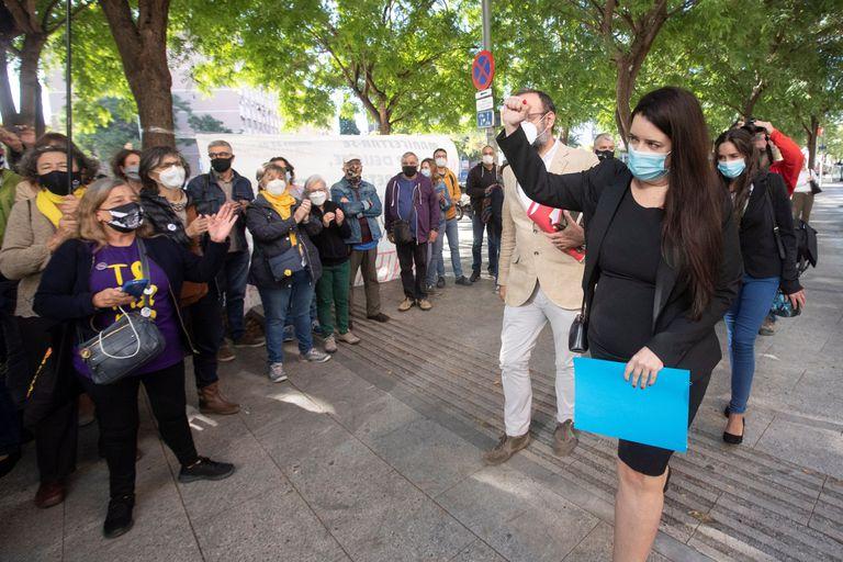 La activista Tamara Carrasco, a su llegada a la Ciudad de la Justicia de Barcelona el 28 de septiembre para declarar ante el juez.