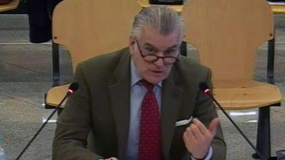 Luis Bárcenas, el 9 de marzo, durante su declaración como acusado en el juicio por la caja b del PP, celebrado en la Audiencia Nacional.