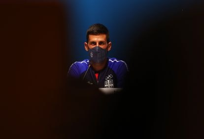 Djokovic, during his press conference in Tokyo.