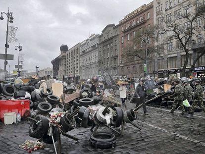 Abril 2014: barricadas junto al hotel durante las protestas del 'maidán'.