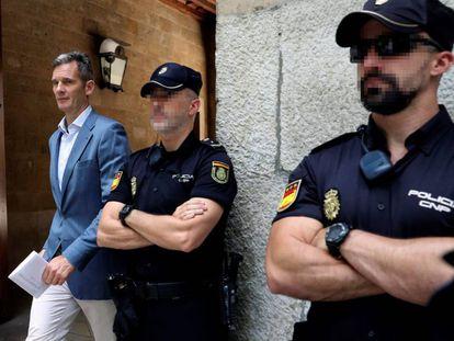 Urdangarin, a su salida de la Audiencia de Palma.