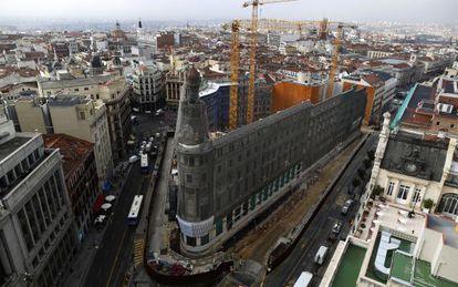Las obras del complejo Canalejas hoy en Madrid