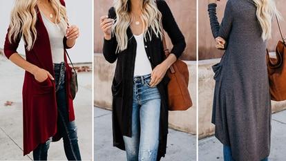Granate, negro y gris son tres de los seis colores en los que puede encontrarse este cárdigan largo para mujer.