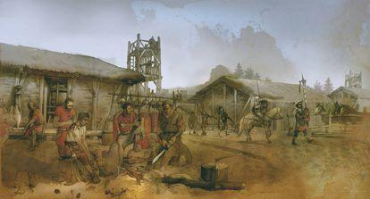 Dibujo de Albert Álvarez Marsal que recrea cómo era la vida en Numancia.