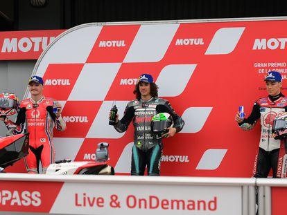 Miller, Morbidelli y Nakagami, los tres hombres que saldrán desde la primera fila del GP de la Comunidad Valenciana.