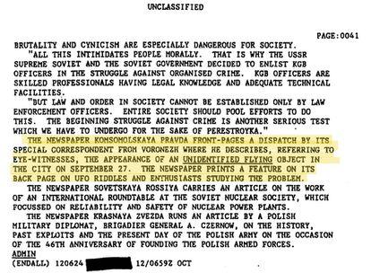 """Un fragmento del documento de la CIA desclasificado donde se hace referencia a la historia de Voronezh en la prensa rusa. El documento puede consultarse en <a href=""""https://www.cia.gov/library/readingroom/document/0005516572"""">la web de la agencia</a>."""