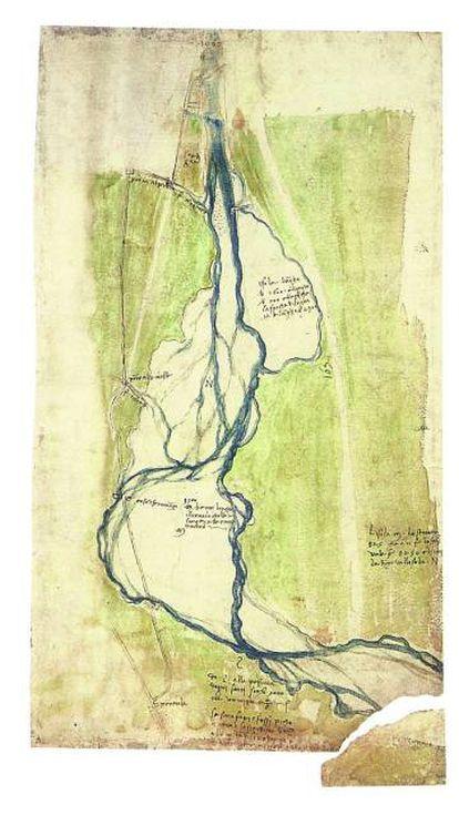 Plano topográfico con los ríos Arno y Mugnone, al oeste de Florencia (1504), acuarela de Leonardo da Vinci.