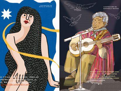 A la derecha, una ilustración de la cantante Chavela Vargas y a la izquierda, Claudia Ancapán Quilape, ambas aparecen en el libro 'Cuentos para niñas rebeldes'.
