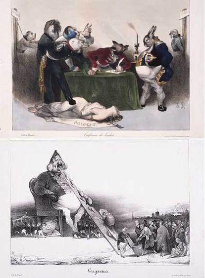 Abajo, <i>Gargantúa</i> (1831). Arriba, en la <i>Conferencia de Londres</i> (1832), Polonia es la mujer; Prusia, un caballo; Rusia, un oso; Austria, un mono; Inglaterra, un zorro; Francia, una liebre; Bélgica, un pavo, y Holanda, un perro.