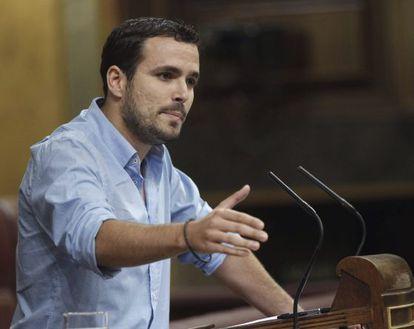 El diputado de IU Alberto Garzón, durante su intervención hoy en la sesión de control al Ejecutivo.