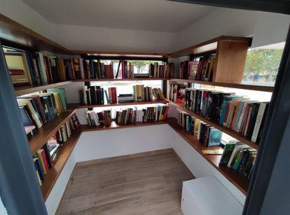 Interior de la bibliocaseta restaurada de Ciudad Rodrigo.