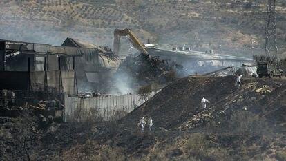 Incendio en la planta de residuos de Chiloeches (Guadalajara), en agosto de 2016.