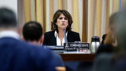 La fiscal general del estado, Dolores Delgado, durante una comparecencia ante la comisión de justicia del Congreso de los Diputados.