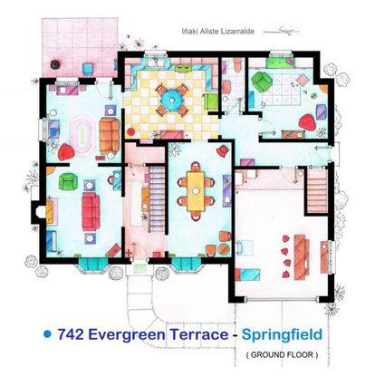 Planta baja de la casa de 'Los Simpson' en el plano de Iñaki Aliste Lizarralde. Al fondo a la derecha, la 'rumpus room', que solo ha salido fugazmente en dos o tres capítulos y que ha roto el coco a los fanáticos de la serie.