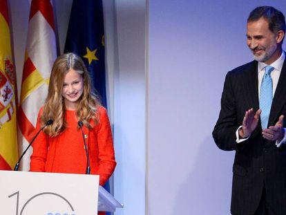 La princesa Leonor, durante la ceremonia de entrega de la décima edición de los premios Princesa de Girona. En vídeo, su primer discurso en catalán.