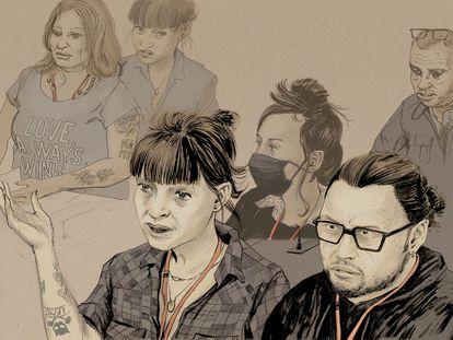 Ilustración del testimonio de víctimas en el juicio por los atentados de París, realizada por Ivan Brun para Le Monde.