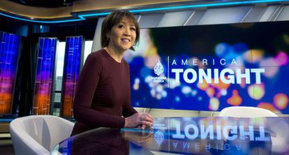 Joie Chen, presentadora del informativo America Tonight.