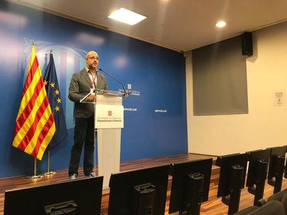 El conseller de Interior, Miquel Buch, en la rueda de prensa telemática.  GENERALITAT 22/03/2020