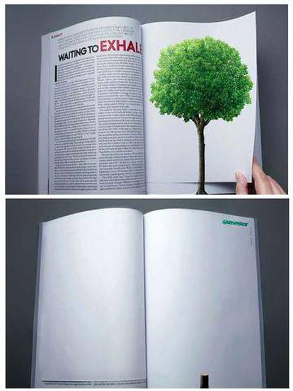 """Anuncio publicitario de la ONG Greenpeace: """"La deforestación continúa a la vuelta de una página"""". Agencia desconocida."""