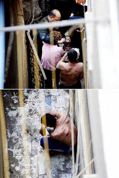 En la imagen superior, traslado de los torturados en un patio de Garden City, El Cairo. En la foto se ve a un militar. En la imagen inferior, estado de uno de los jóvenes durante un descanso en la sesión de golpes, el 10 de marzo de 2011.