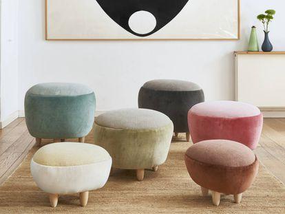Pufs gema de la colección Pebbles, primer trabajo de Helena Rohner en el diseño mobiliario, en colaboración con Gancedo. |
