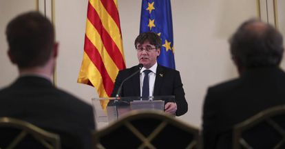 El expresidente Carles Puigdemont, este febrero en Bruselas.