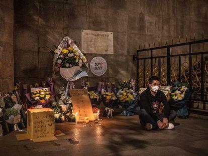 Memorial por los fallecidos por Covid-19 en Wuhan (China).