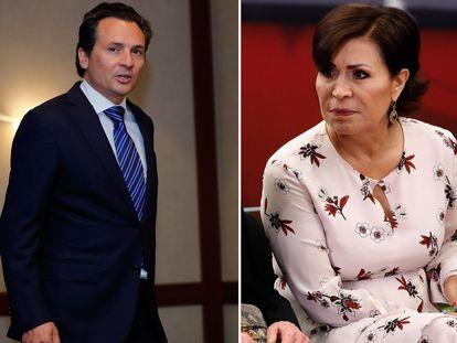 El exdirector de Pemex Emilio Lozoya y Rosario Robles, exsecretaria de Estado con Peña Nieto.