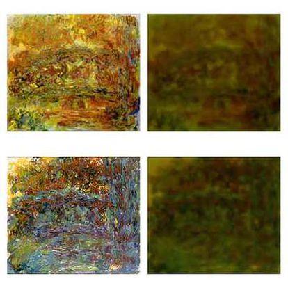 Los cuadros de la izquierda los pintó Monet con cataratas; a la derecha, cómo veía el artista estas obras.
