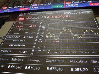 Paneles de la Bolsa de Madrid.