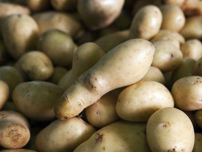 Patatas en un mercado urbano.