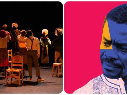 La obra de teatro 'Alaejos; pocos y lejos' y una imagen del documental 'El escritor de un país sin librerías'
