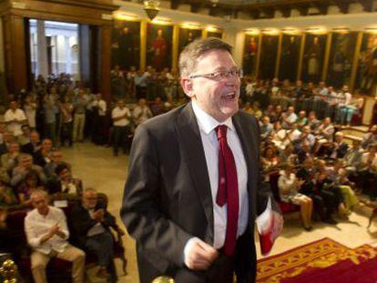El secretario general del PSPV-PSOE, Ximo Puig, en el acto celebrado en paraninfo de la Universitat de València.