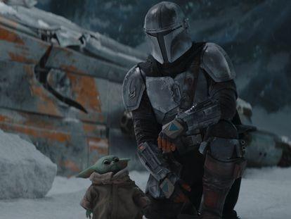 Pedro Pascal y Baby Yoda en el primer capítulo de la segunda temporada de 'The Mandalorian'.