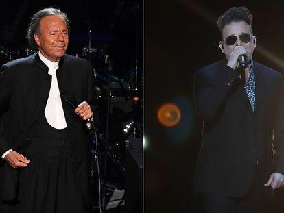 Montaje con imágenes en concierto de Julio Iglesias y Andrés Calamaro.