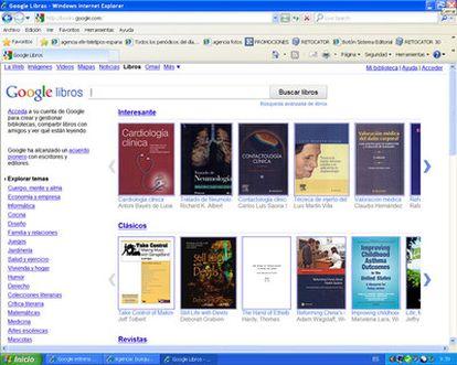 Imagen de la página web de la librería de Google.