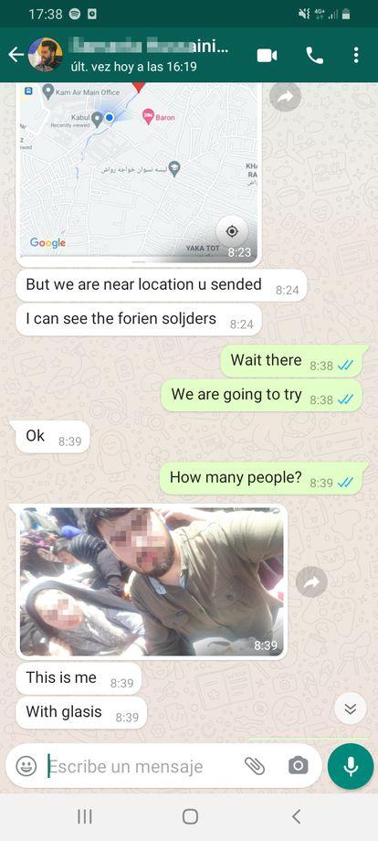 Mensaje de WhastApp intercambiado durante el rescate de las familias afganas.